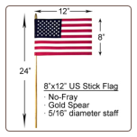 "8"" x 12"" US Stick Flag No-Fray"