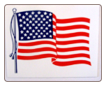 "WAVING U.S.A. FLAG      SIZE 4"" X 3"""